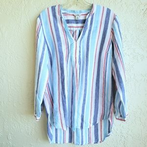 L. L. Bean Striped Linen Tunic Size M